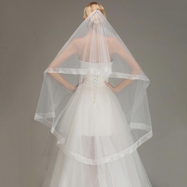 Two Layers Cut Edge Wedding Veil Tulle Bridal Veil_5