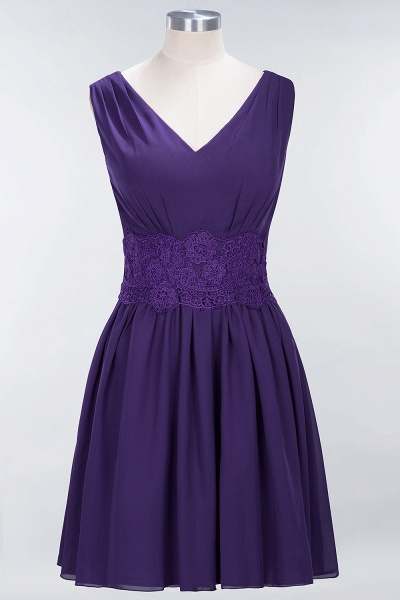 A-line Chiffon Lace V-Neck Sleeveless Mini Bridesmaid Dresses_18