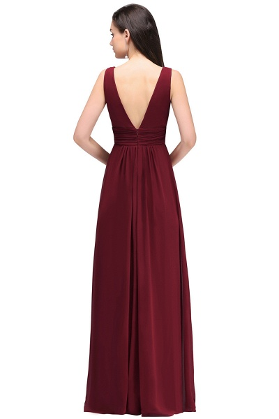 Elegant A-Line Chiffon V-Neck Sleeveless Ruffles Floor-Length Bridesmaid Dresses_2