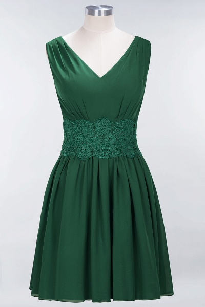 A-line Chiffon Lace V-Neck Sleeveless Mini Bridesmaid Dresses_30