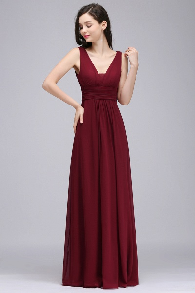 Elegant A-Line Chiffon V-Neck Sleeveless Ruffles Floor-Length Bridesmaid Dresses_1