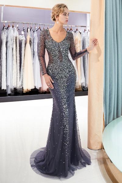 Excellent V-neck Tulle Mermaid Prom Dress_6