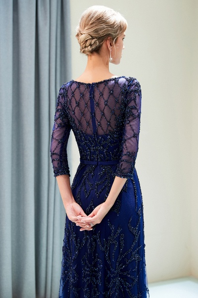 A-line Illusion Neckline Beading Evening Gowns with Sleeves_19