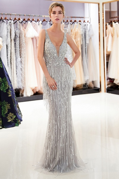 Latest Vneck Beading Fringe Tulle Mermaid Prom Dress_5