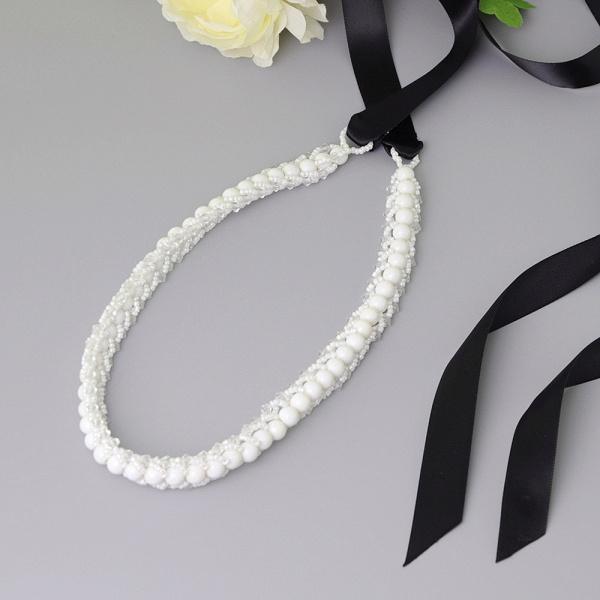 Satin Beadings Wedding Sash with Pearls_4