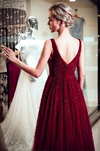 A-line V-neck Sleeveless Burgundy Sequins Tulle Long Evening Dresses_3