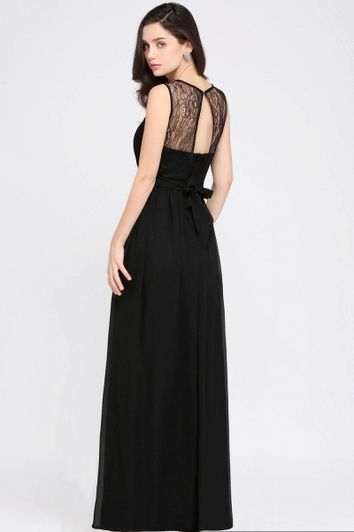 A-Line Chiffon Lace Jewel Sleeveless Keyhole Floor-Length Bridesmaid Dresses_5
