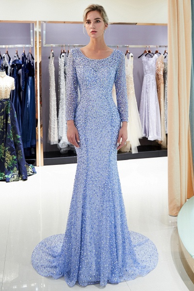 Long Sleeve Mermaid Floor Length Sequins Formal Party Dresses_7