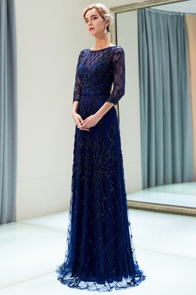 A-line Illusion Neckline Beading Evening Gowns with Sleeves_12