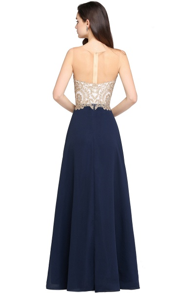 A-Line Chiffon Tulle Lace Scoop Sleeveless Floor-Length Bridesmaid Dress with Beadings_2
