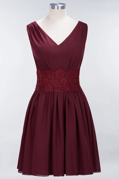 A-line Chiffon Lace V-Neck Sleeveless Mini Bridesmaid Dresses_37