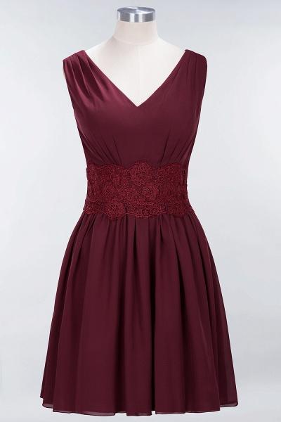 A-line Chiffon Lace V-Neck Sleeveless Mini Bridesmaid Dresses_10