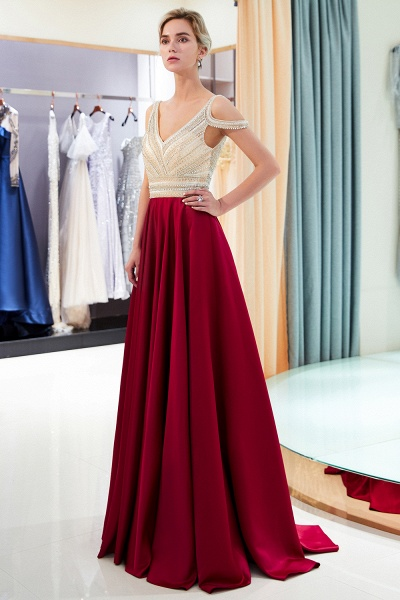 Fascinating V-neck Stretch Satin A-line Prom Dress_8