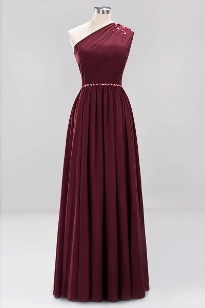 Elegant A-Line Burgundy Chiffon One-Shoulder Sleeveless Ruffles Floor-Length Bridesmaid Dresses with Beadings_10