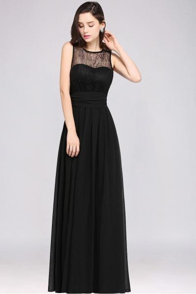 A-Line Chiffon Lace Jewel Sleeveless Keyhole Floor-Length Bridesmaid Dresses_3