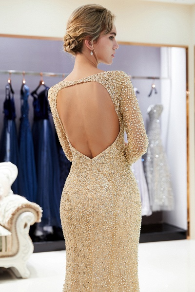 Long Sleeve Mermaid Floor Length Sequins Formal Party Dresses_17
