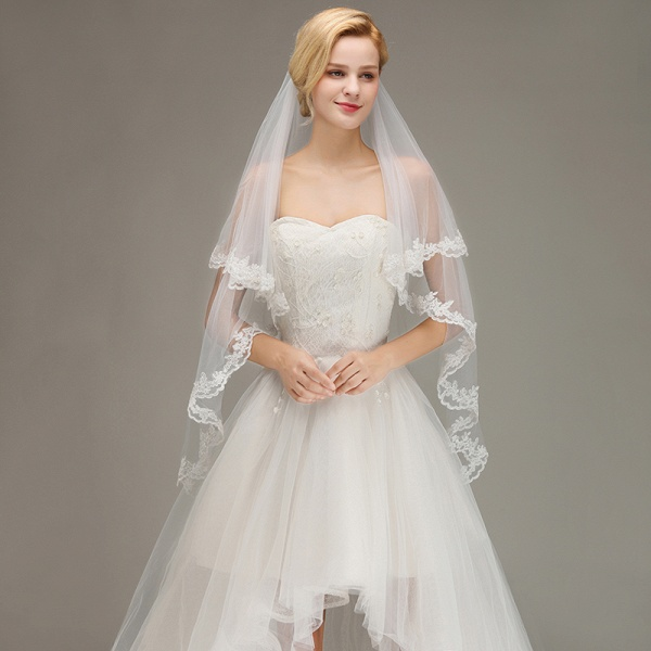 Two Layers Tulle Lace Edge Comb Wedding Veil_2