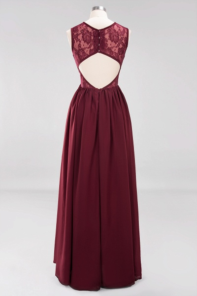 A-line Chiffon Lace Jewel Sleeveless Ruffles Floor-Length Bridesmaid Dresses with Appliques_8