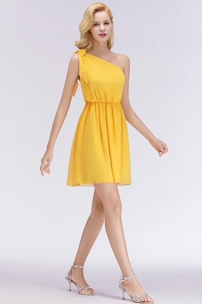BM0039 Elegant Chiffon One-Shoulder Sleeveless Ruffles Short Bridesmaid Dresses with Bow_4