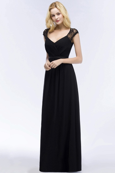 Elegant Mermaid Lace V-Neck Sleeveless Floor-Length Bridesmaid Dresses with Sash_4
