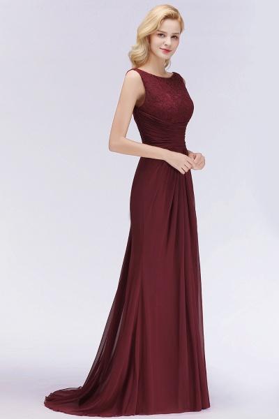 BM0058 Burgundy Chiffon Lace Scoop A-Line Ruffles Long Bridesmaid Dresses_4