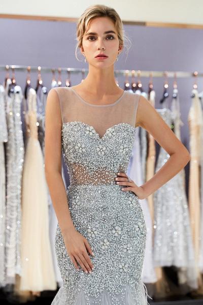 Sleeveless Mermaid Illusion Neckline Crystal Sqeuined Tulle Evening Dresses_7