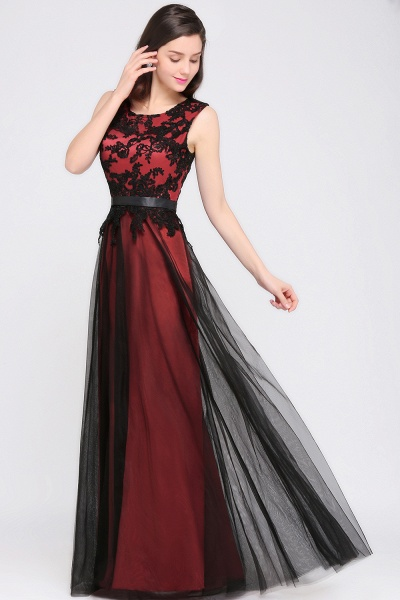 Elegant A-Line Tulle Lace Sleeveless Floor-Length Bridesmaid Dress with Sash_4