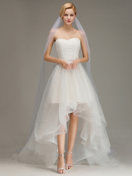 One Layer Cathedral Tulle Wedding Veil with Comb_2