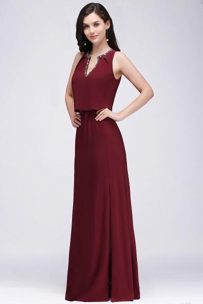 A-line Chiffon V-Neck Sleeveless Front-Split Floor-length Bridesmaid Dress with Crystal_3