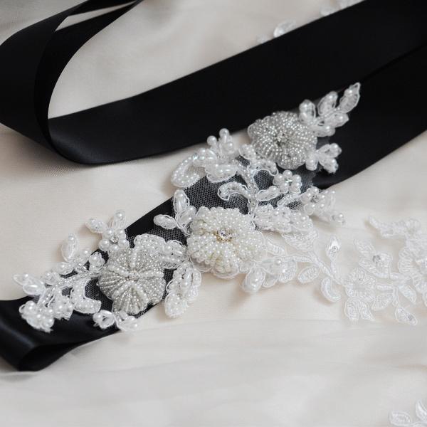 Beautiful Satin Flower Wedding Sash with Pearls_5