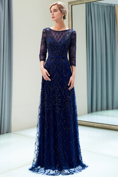 A-line Illusion Neckline Beading Evening Gowns with Sleeves_15