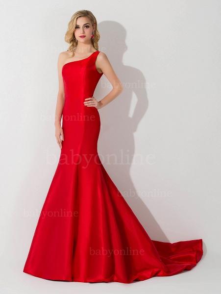 Mermaid Satin One-Shoulder Sleeveless Floor-Length Bridesmaid Dress_4