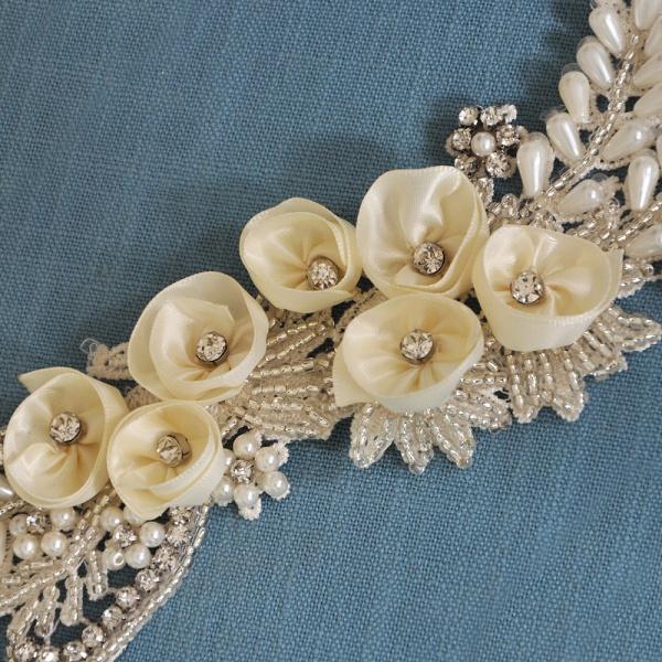 Handmade Flower Pearl Wedding Sash with Beadings_8