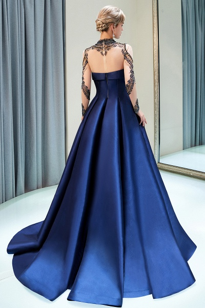 Beautiful Jewel Stretch Satin A-line Prom Dress_3