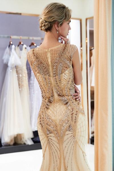 Sleeveless Mermaid Golden Sequins Beading Formal Prom Dresses_7