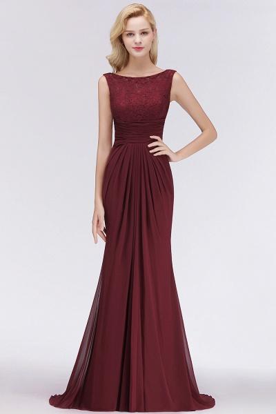 BM0058 Burgundy Chiffon Lace Scoop A-Line Ruffles Long Bridesmaid Dresses_3