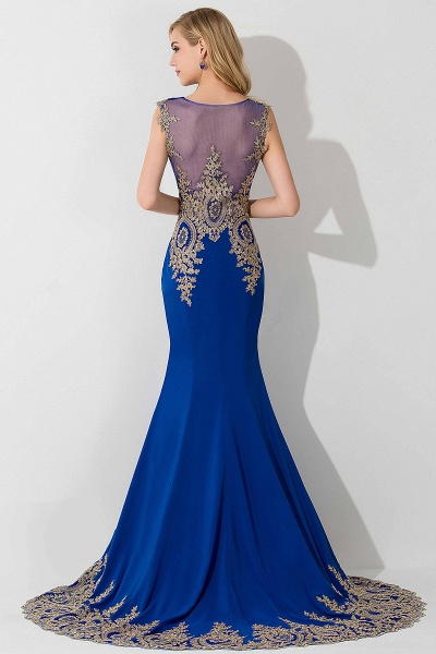 Mermaid Chiffon Scoop Sleeveless Court Train Evening Dress with Appliques_2