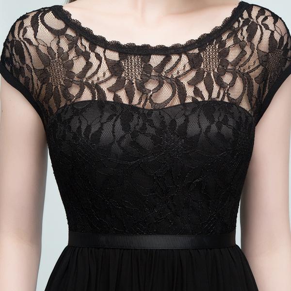 A-Line Chiffon Lace Jewel Short-Sleeves Floor-Length Bridesmaid Dresses with Sash_7