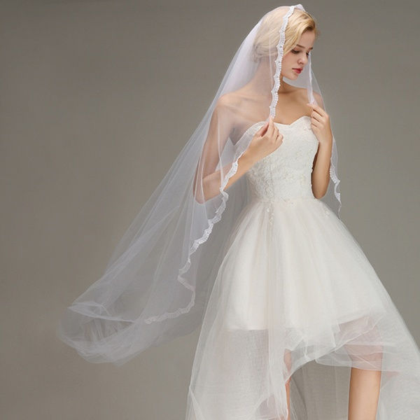 One Layer Cathedral Tulle Wedding Veil with Comb_5