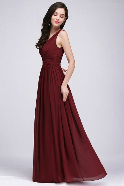 Elegant A-Line Chiffon V-Neck Sleeveless Ruffles Floor-Length Bridesmaid Dresses_4