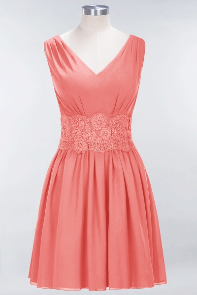 A-line Chiffon Lace V-Neck Sleeveless Mini Bridesmaid Dresses_7
