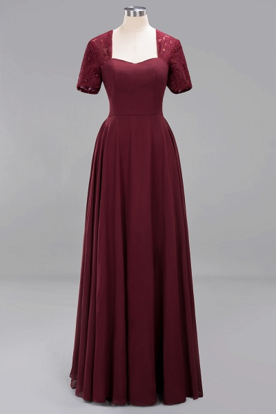 A-Line Chiffon Square Short Sleeves Bridesmaid Dress with Ruffle_6
