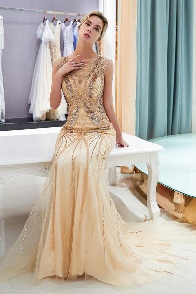 Sleeveless Mermaid Golden Sequins Beading Formal Prom Dresses_3
