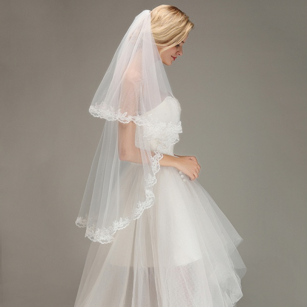 Two Layers Tulle Lace Edge Comb Wedding Veil_4