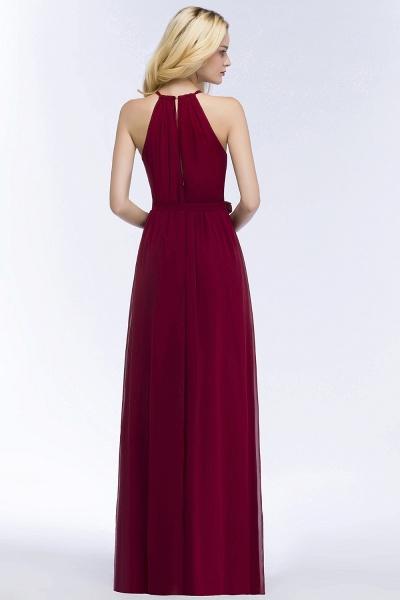 Vintage A-Line Chiffon Halter Sleeveless Ruffles Floor-Length Bridesmaid Dresses with Bow Sash_2