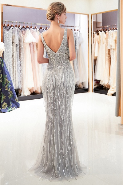 Latest Vneck Beading Fringe Tulle Mermaid Prom Dress_3