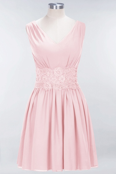 A-line Chiffon Lace V-Neck Sleeveless Mini Bridesmaid Dresses_3