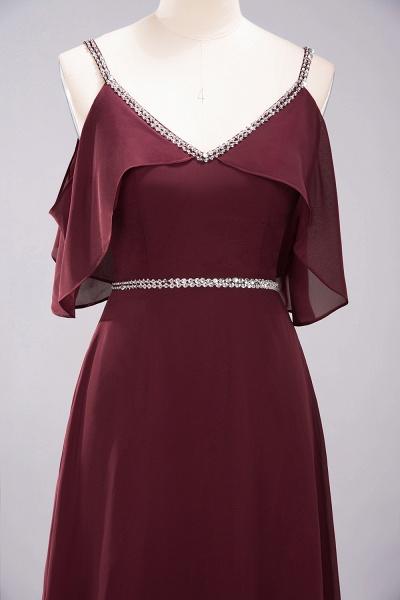 elegant A-line Chiffon V-Neck Spaghetti Straps Sleeveless Floor-Length Bridesmaid Dresses with Beading Sash_4