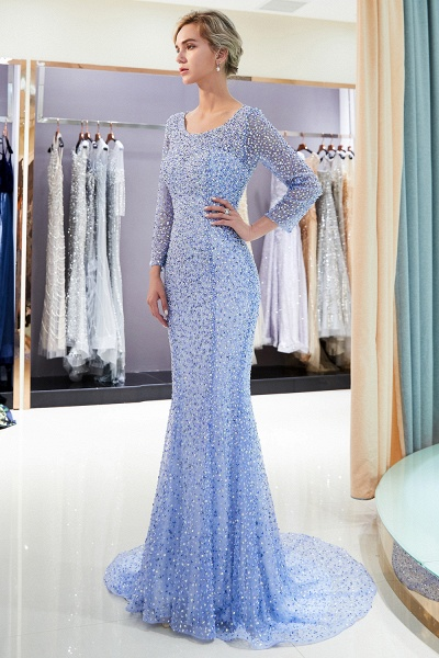 Long Sleeve Mermaid Floor Length Sequins Formal Party Dresses