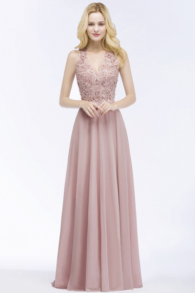 A-line Chiffon Appliques V-neck Sleeveless Floor-Length Bridesmaid Dresses with Pearls_1